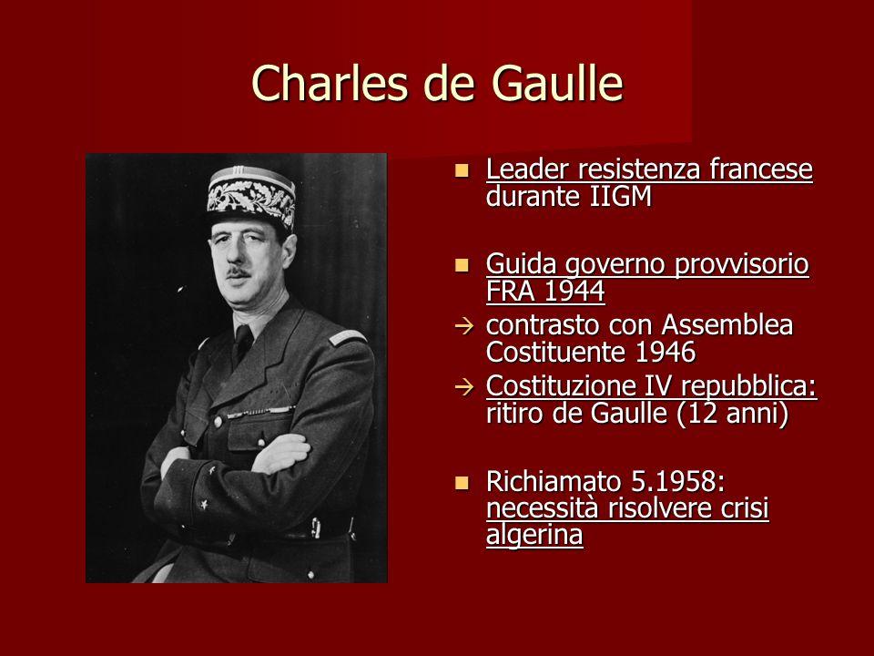 Charles de Gaulle Leader resistenza francese durante IIGM Leader resistenza francese durante IIGM Guida governo provvisorio FRA 1944 Guida governo pro