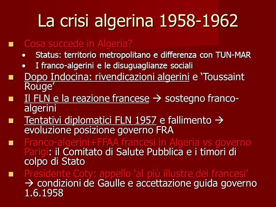 La crisi algerina 1958-1962 Cosa succede in Algeria? Cosa succede in Algeria? Status: territorio metropolitano e differenza con TUN-MARStatus: territo