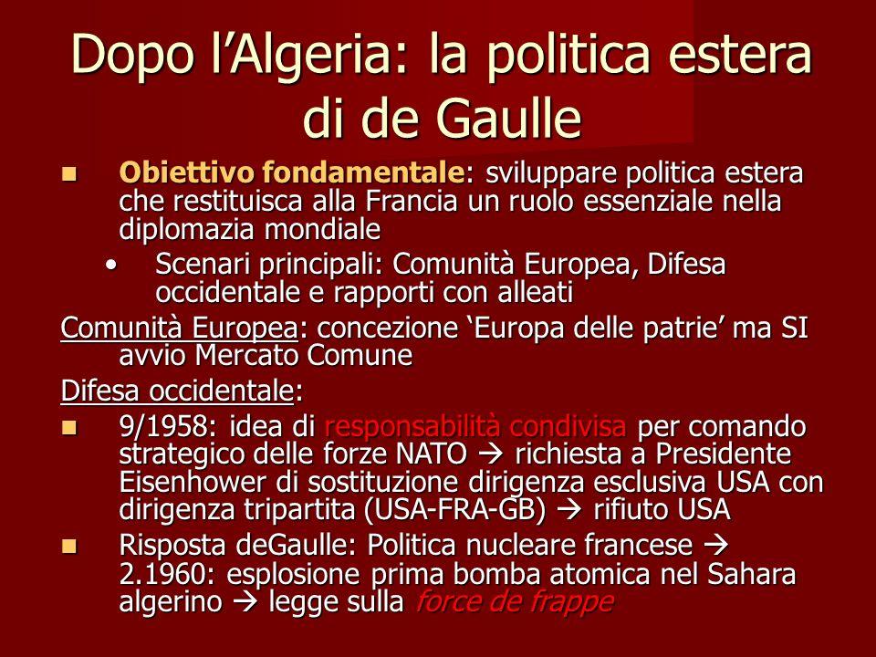 Dopo lAlgeria: la politica estera di de Gaulle Obiettivo fondamentale: sviluppare politica estera che restituisca alla Francia un ruolo essenziale nel