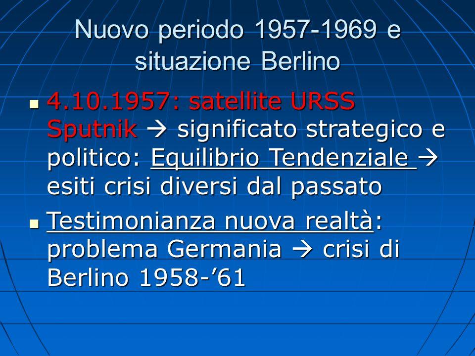 Nuovo periodo 1957-1969 e situazione Berlino 4.10.1957: satellite URSS Sputnik significato strategico e politico: Equilibrio Tendenziale esiti crisi d