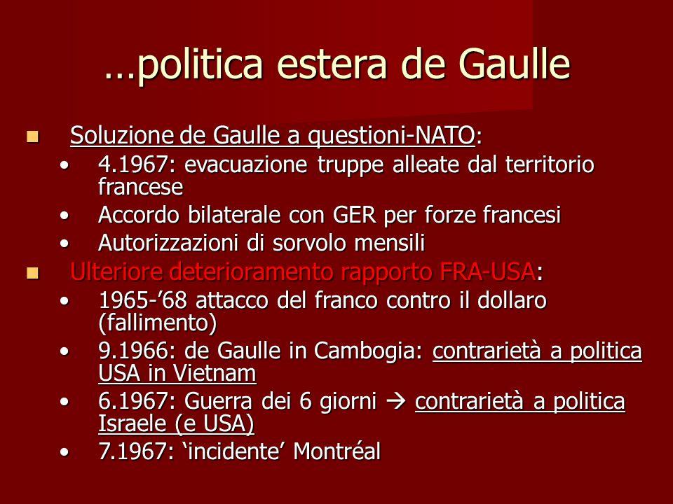…politica estera de Gaulle Soluzione de Gaulle a questioni-NATO : Soluzione de Gaulle a questioni-NATO : 4.1967: evacuazione truppe alleate dal territ