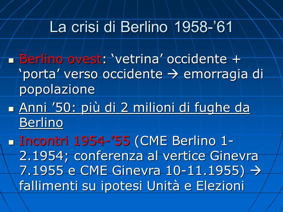 La crisi 1958-61 10.1958: Ulbricht presenza occidentali a Berlino è illegittima 10.1958: Ulbricht presenza occidentali a Berlino è illegittima 27.11.1958: Kruscev necessità di porre fine a situazione irrisolta di Berlino entro 6 mesi (anche con internazionalizzazione) 27.11.1958: Kruscev necessità di porre fine a situazione irrisolta di Berlino entro 6 mesi (anche con internazionalizzazione) Altrimenti: URSS cederà propria zona a amministrazione diretta DDR + TPace separato URSS-DDRAltrimenti: URSS cederà propria zona a amministrazione diretta DDR + TPace separato URSS-DDR Se GB-USA-FRA si opporranno con la forza guerraSe GB-USA-FRA si opporranno con la forza guerra Occidentali: che fare.