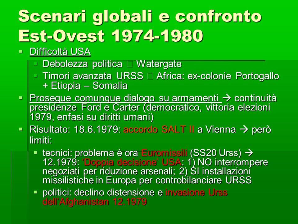Scenari globali e confronto Est-Ovest 1974-1980 Difficoltà USA Difficoltà USA Debolezza politica Watergate Debolezza politica Watergate Timori avanzat