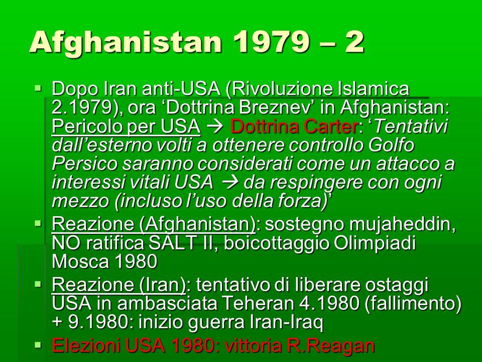Afghanistan 1979 – 2 Dopo Iran anti-USA (Rivoluzione Islamica 2.1979), ora Dottrina Breznev in Afghanistan: Pericolo per USA Dottrina Carter: Tentativ