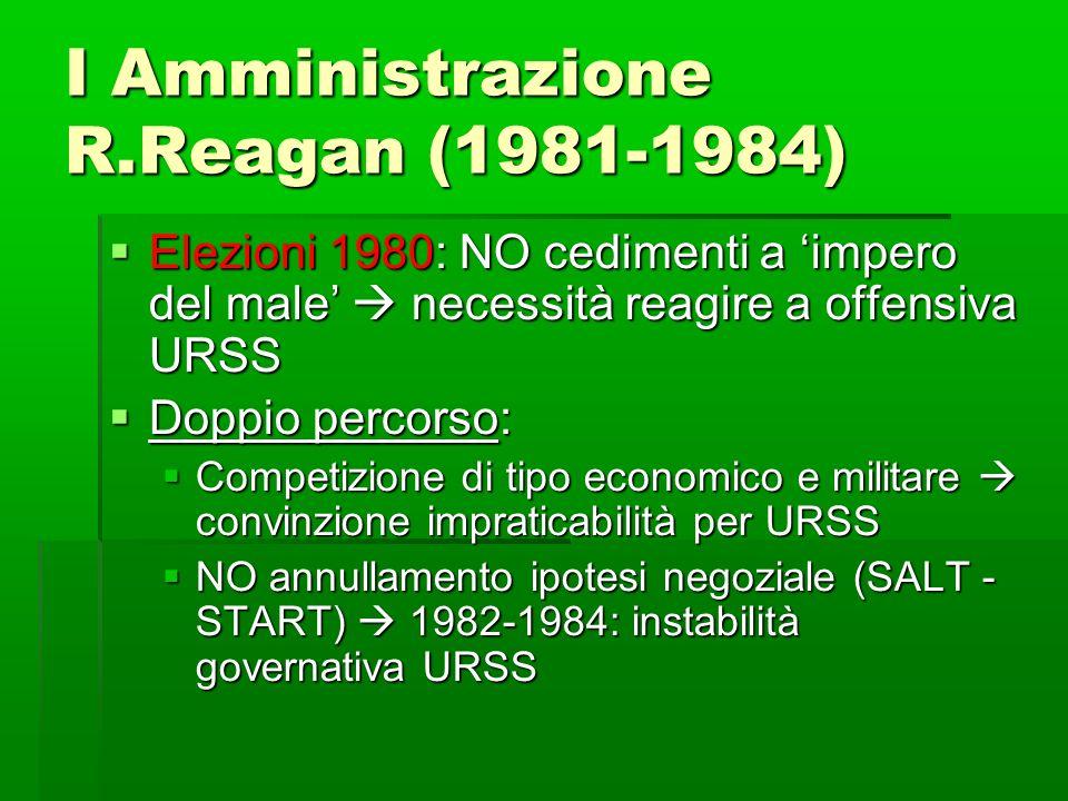 I Amministrazione R.Reagan (1981-1984) Elezioni 1980: NO cedimenti a impero del male necessità reagire a offensiva URSS Elezioni 1980: NO cedimenti a