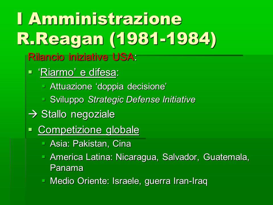 I Amministrazione R.Reagan (1981-1984) Rilancio iniziative USA: Riarmo e difesa:Riarmo e difesa: Attuazione doppia decisione Attuazione doppia decisio