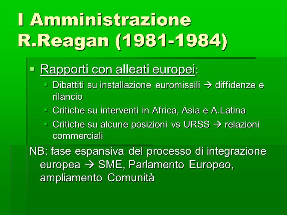 I Amministrazione R.Reagan (1981-1984) Rapporti con alleati europei : Rapporti con alleati europei : Dibattiti su installazione euromissili diffidenze