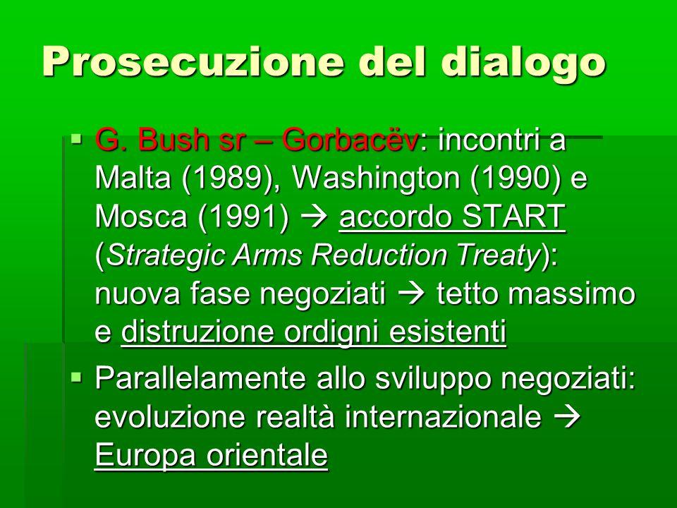 Prosecuzione del dialogo G. Bush sr – Gorbacëv: incontri a Malta (1989), Washington (1990) e Mosca (1991) accordo START ( Strategic Arms Reduction Tre