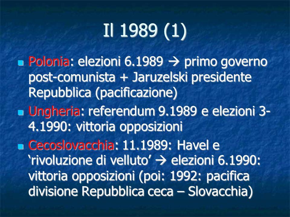 Il 1989 (1) Polonia: elezioni 6.1989 primo governo post-comunista + Jaruzelski presidente Repubblica (pacificazione) Polonia: elezioni 6.1989 primo go