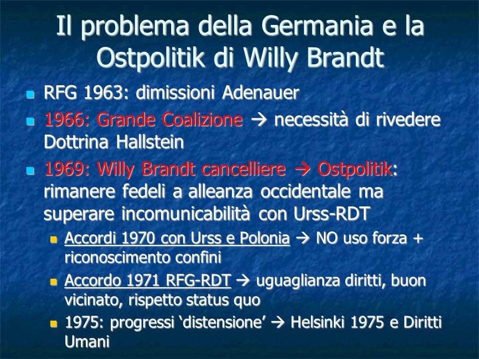 Il problema della Germania e la Ostpolitik di Willy Brandt RFG 1963: dimissioni Adenauer RFG 1963: dimissioni Adenauer 1966: Grande Coalizione necessi