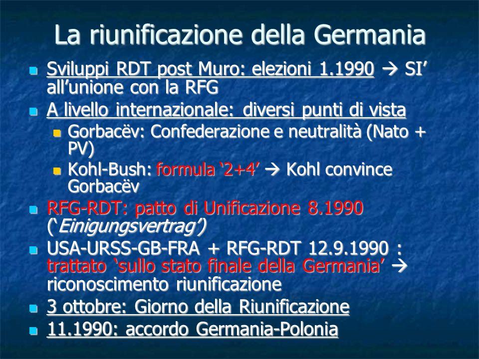 La riunificazione della Germania Sviluppi RDT post Muro: elezioni 1.1990 SI allunione con la RFG Sviluppi RDT post Muro: elezioni 1.1990 SI allunione
