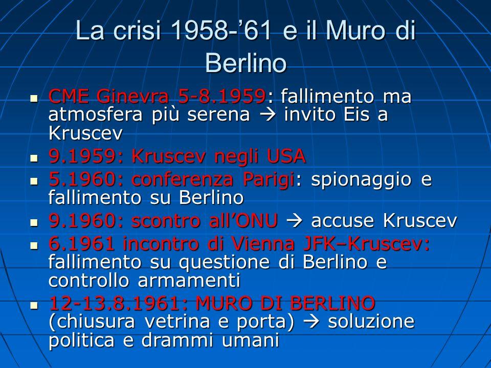 La crisi 1958-61 e il Muro di Berlino CME Ginevra 5-8.1959: fallimento ma atmosfera più serena invito Eis a Kruscev CME Ginevra 5-8.1959: fallimento m