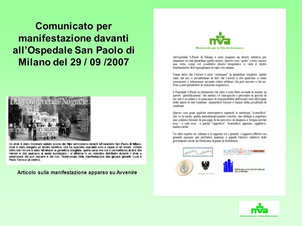 Comunicato per manifestazione davanti allOspedale San Paolo di Milano del 29 / 09 /2007 Articolo sulla manifestazione apparso su Avvenire