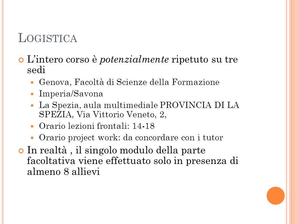 L OGISTICA Lintero corso è potenzialmente ripetuto su tre sedi Genova, Facoltà di Scienze della Formazione Imperia/Savona La Spezia, aula multimediale
