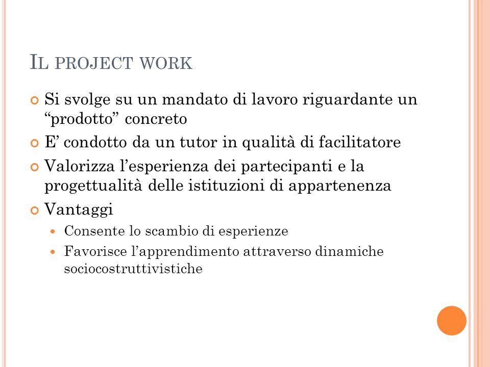 I L PROJECT WORK Si svolge su un mandato di lavoro riguardante un prodotto concreto E condotto da un tutor in qualità di facilitatore Valorizza lesper