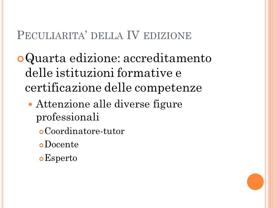 P ECULIARITA DELLA IV EDIZIONE Quarta edizione: accreditamento delle istituzioni formative e certificazione delle competenze Attenzione alle diverse f