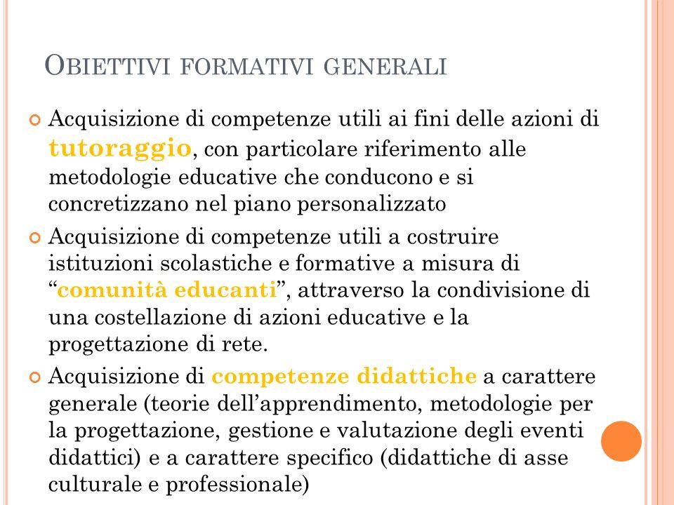 O BIETTIVI FORMATIVI GENERALI Acquisizione di competenze utili ai fini delle azioni di tutoraggio, con particolare riferimento alle metodologie educat