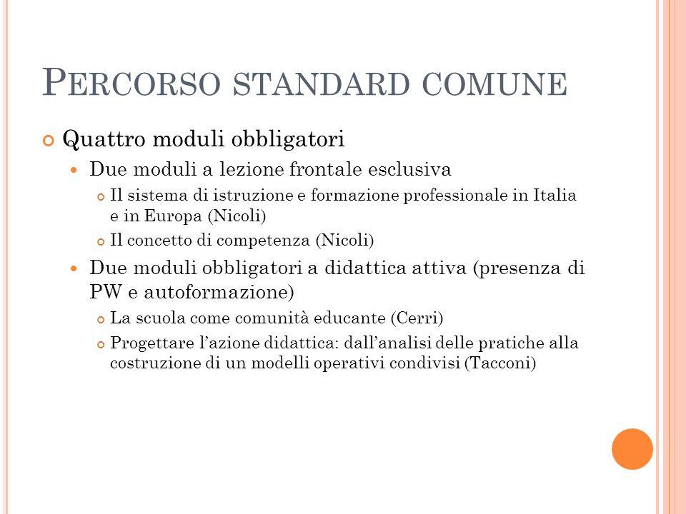 P ERCORSO STANDARD COMUNE Quattro moduli obbligatori Due moduli a lezione frontale esclusiva Il sistema di istruzione e formazione professionale in It