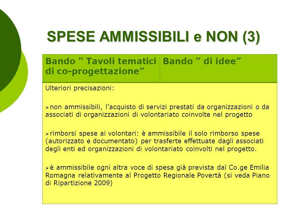 SPESE AMMISSIBILI e NON (3) Bando Tavoli tematici di co-progettazione Bando di idee Ulteriori precisazioni: non ammissibili, lacquisto di servizi pres