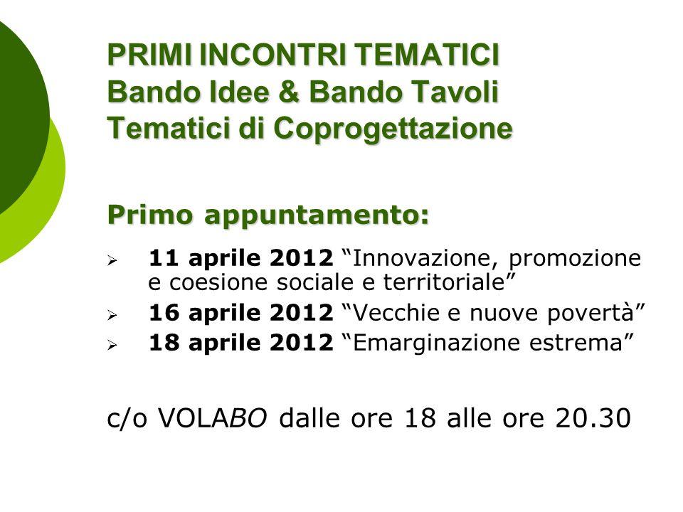 PRIMI INCONTRI TEMATICI Bando Idee & Bando Tavoli Tematici di Coprogettazione Primo appuntamento: 11 aprile 2012 Innovazione, promozione e coesione so