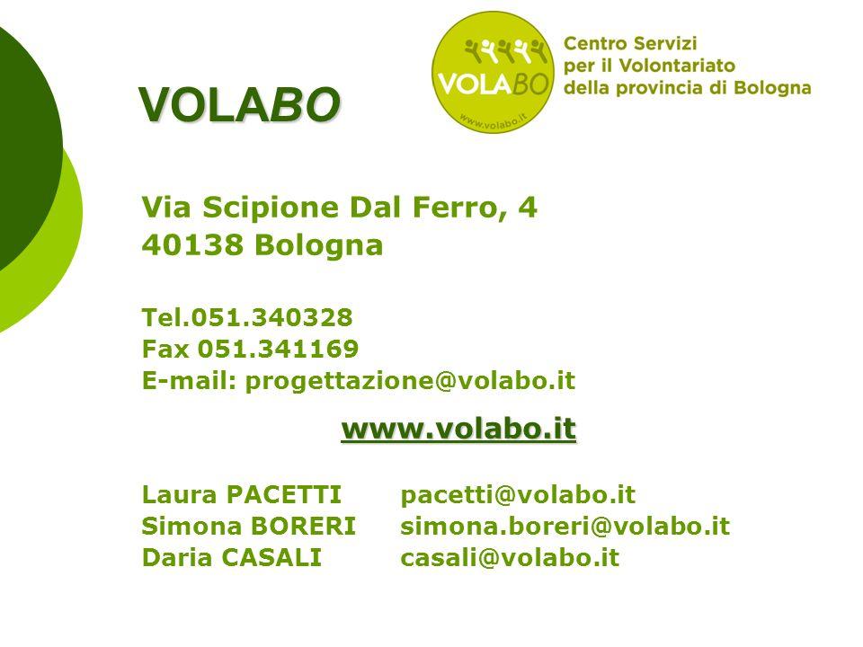 VOLABO Via Scipione Dal Ferro, 4 40138 Bologna Tel.051.340328 Fax 051.341169 E-mail: progettazione@volabo.it www.volabo.it Laura PACETTIpacetti@volabo