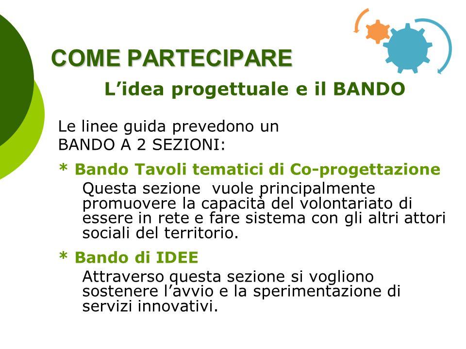 COME PARTECIPARE Lidea progettuale e il BANDO Le linee guida prevedono un BANDO A 2 SEZIONI: * Bando Tavoli tematici di Co-progettazione Questa sezion