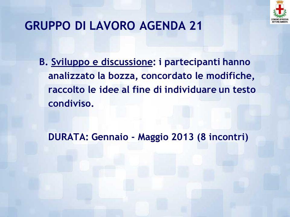 GRUPPO DI LAVORO AGENDA 21 Si è articolato in due fasi: A.
