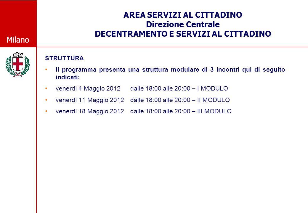 Milano AREA SERVIZI AL CITTADINO Direzione Centrale DECENTRAMENTO E SERVIZI AL CITTADINO STRUTTURA Il programma presenta una struttura modulare di 3 incontri qui di seguito indicati: venerdì 4 Maggio 2012 dalle 18:00 alle 20:00 – I MODULO venerdì 11 Maggio 2012 dalle 18:00 alle 20:00 – II MODULO venerdì 18 Maggio 2012 dalle 18:00 alle 20:00 – III MODULO