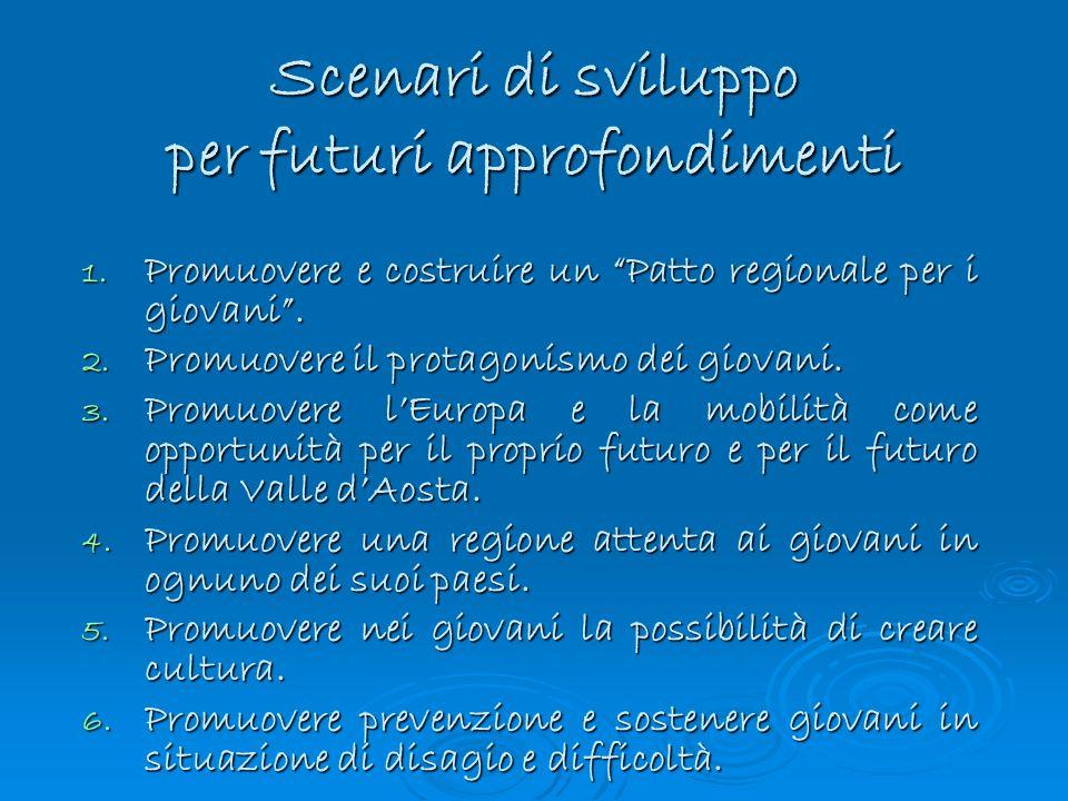 1. Promuovere e costruire un Patto regionale per i giovani. 2. Promuovere il protagonismo dei giovani. 3. Promuovere lEuropa e la mobilità come opport