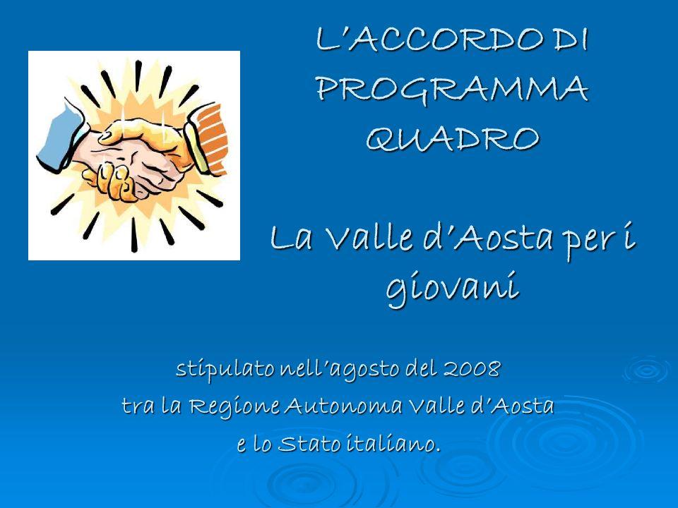 LACCORDO DI PROGRAMMA QUADRO La Valle dAosta per i giovani stipulato nellagosto del 2008 tra la Regione Autonoma Valle dAosta e lo Stato italiano.