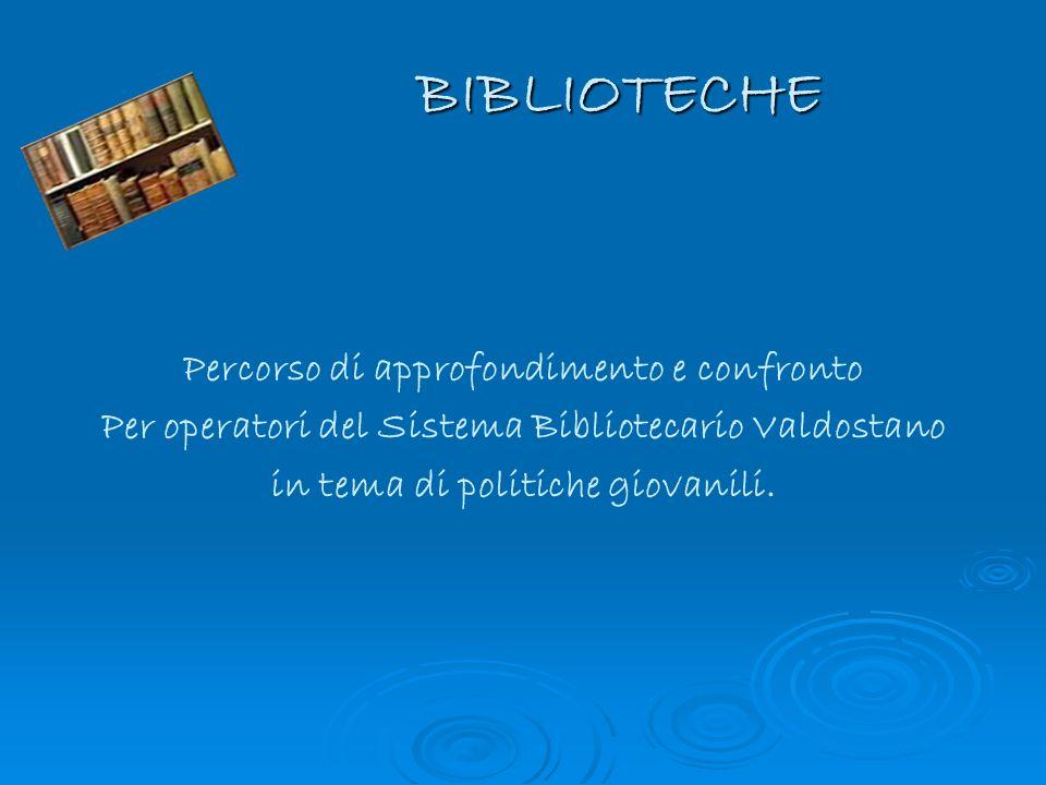 BIBLIOTECHE Percorso di approfondimento e confronto Per operatori del Sistema Bibliotecario Valdostano in tema di politiche giovanili.