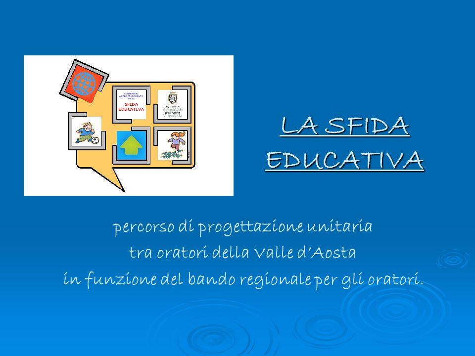 percorso di progettazione unitaria tra oratori della Valle dAosta in funzione del bando regionale per gli oratori. LA SFIDA EDUCATIVA