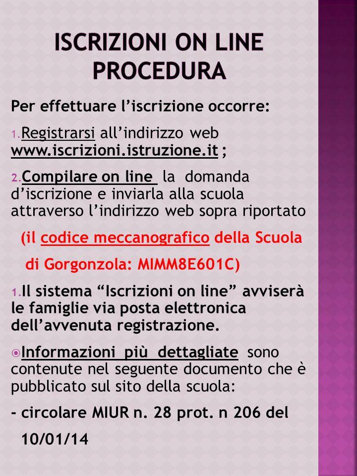 Per effettuare liscrizione occorre: 1. Registrarsi allindirizzo web www.iscrizioni.istruzione.it ; 2. Compilare on line la domanda discrizione e invia