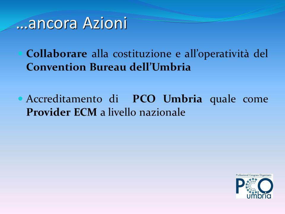 Collaborare alla costituzione e alloperatività del Convention Bureau dellUmbria Accreditamento di PCO Umbria quale come Provider ECM a livello nazionale …ancora Azioni