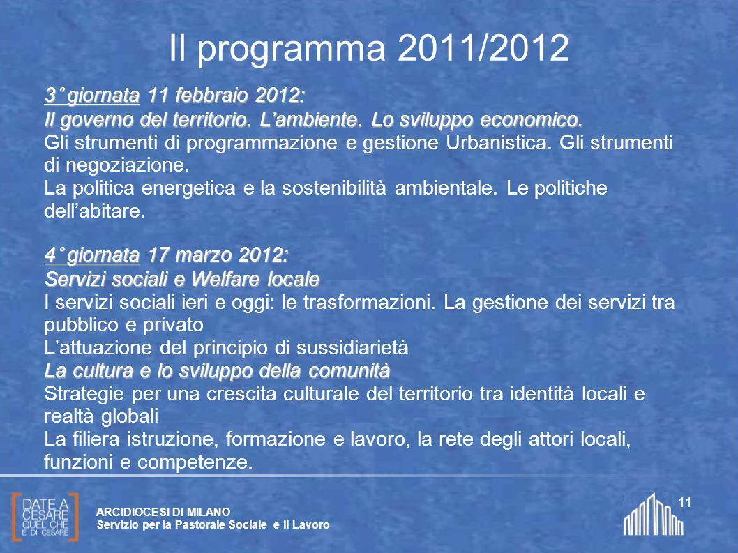 Create da Paolo Arrigoni per SFSP Diocesi di Milano – 2011 ARCIDIOCESI DI MILANO Servizio per la Pastorale Sociale e il Lavoro 11 Il programma 2011/20