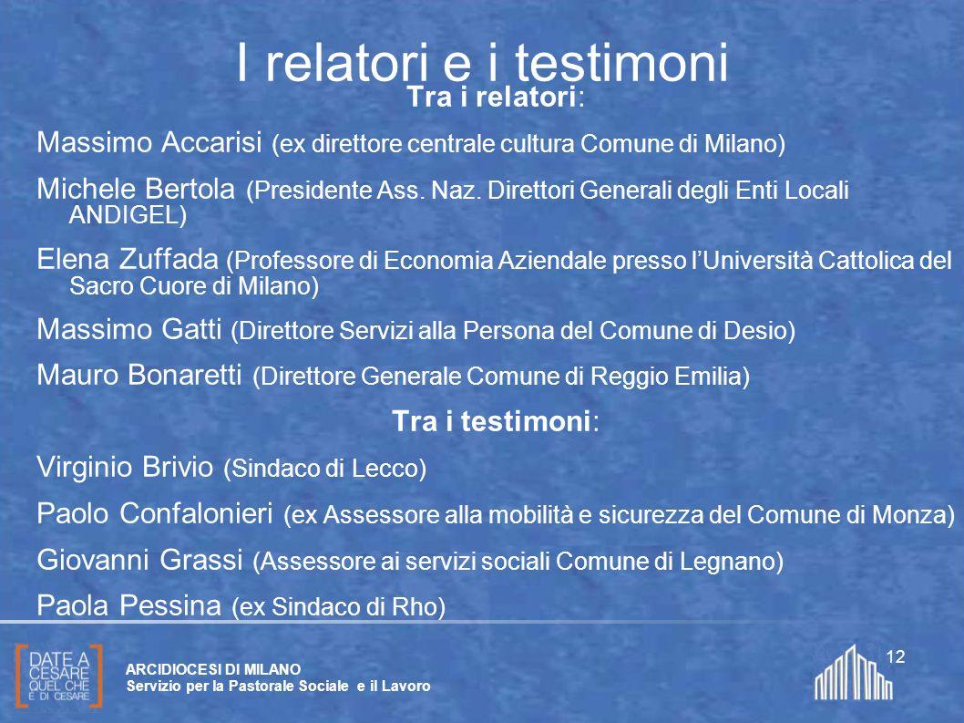 Create da Paolo Arrigoni per SFSP Diocesi di Milano – 2011 ARCIDIOCESI DI MILANO Servizio per la Pastorale Sociale e il Lavoro 12 I relatori e i testi