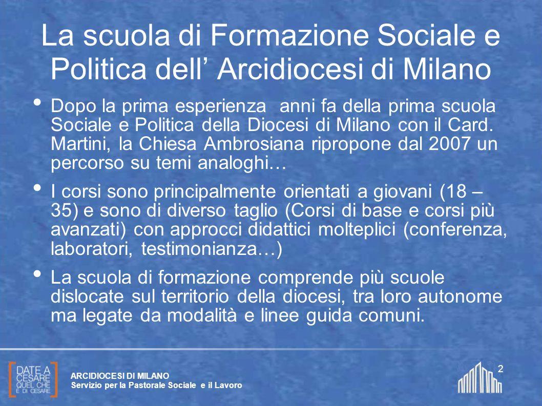 Create da Paolo Arrigoni per SFSP Diocesi di Milano – 2011 ARCIDIOCESI DI MILANO Servizio per la Pastorale Sociale e il Lavoro 2 La scuola di Formazio