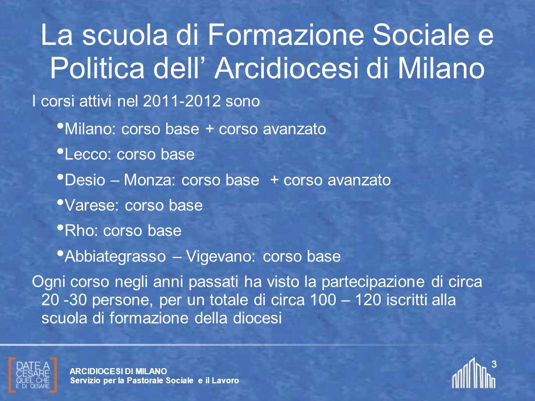 Create da Paolo Arrigoni per SFSP Diocesi di Milano – 2011 ARCIDIOCESI DI MILANO Servizio per la Pastorale Sociale e il Lavoro 3 I corsi attivi nel 20