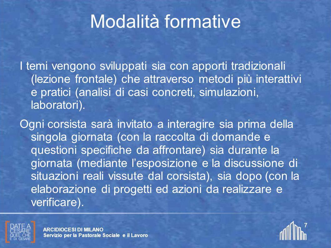 Create da Paolo Arrigoni per SFSP Diocesi di Milano – 2011 ARCIDIOCESI DI MILANO Servizio per la Pastorale Sociale e il Lavoro 7 Modalità formative I