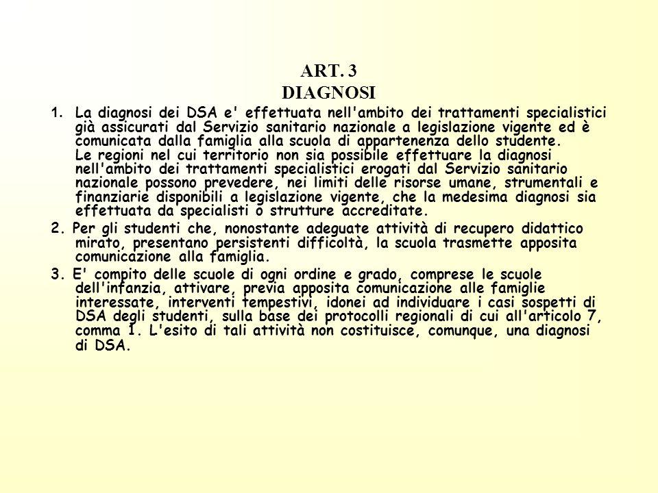 ART. 3 DIAGNOSI 1. La diagnosi dei DSA e' effettuata nell'ambito dei trattamenti specialistici già assicurati dal Servizio sanitario nazionale a legis
