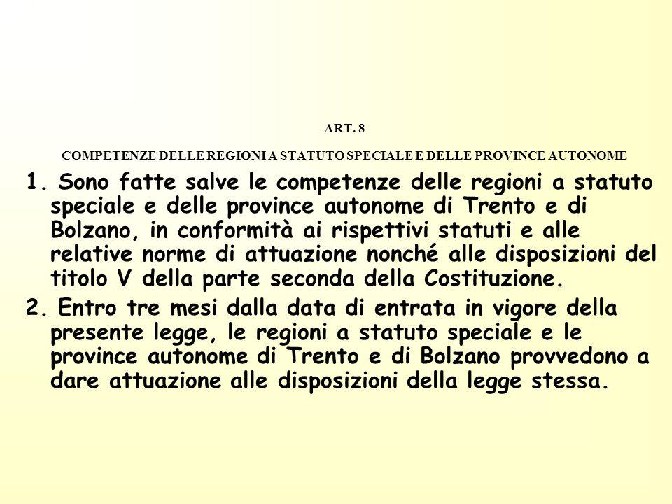 ART. 8 COMPETENZE DELLE REGIONI A STATUTO SPECIALE E DELLE PROVINCE AUTONOME 1. Sono fatte salve le competenze delle regioni a statuto speciale e dell