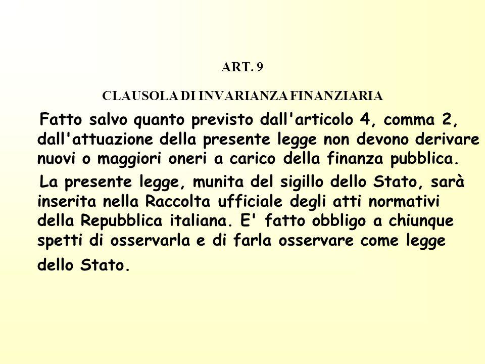 ART. 9 CLAUSOLA DI INVARIANZA FINANZIARIA Fatto salvo quanto previsto dall'articolo 4, comma 2, dall'attuazione della presente legge non devono deriva
