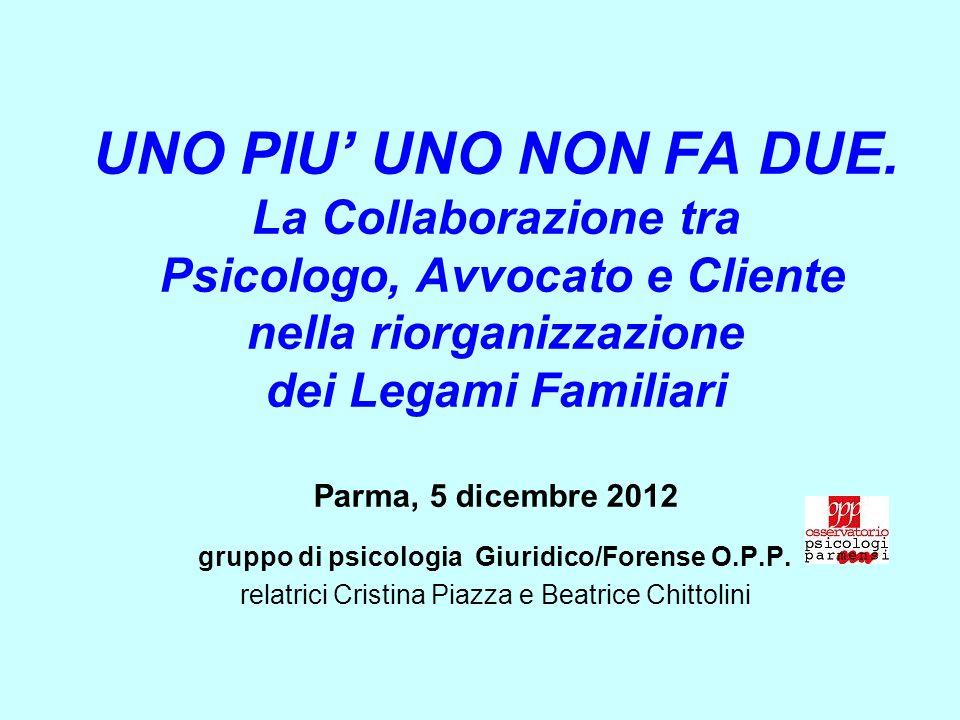 UNO PIU UNO NON FA DUE. La Collaborazione tra Psicologo, Avvocato e Cliente nella riorganizzazione dei Legami Familiari Parma, 5 dicembre 2012 gruppo