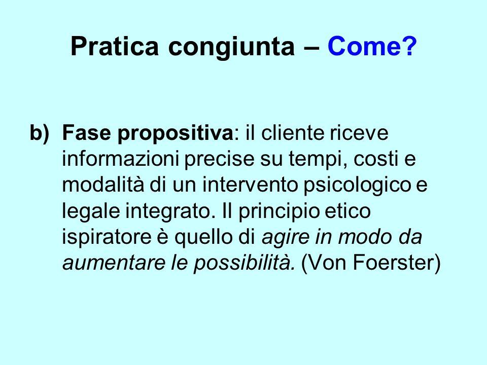 Pratica congiunta – Come? b) Fase propositiva: il cliente riceve informazioni precise su tempi, costi e modalità di un intervento psicologico e legale