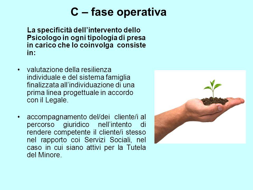 C – fase operativa La specificità dellintervento dello Psicologo in ogni tipologia di presa in carico che lo coinvolga consiste in: valutazione della