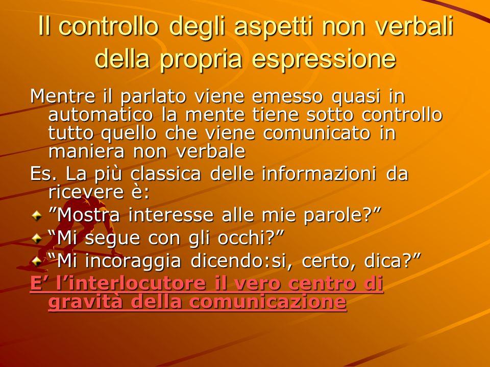 Il controllo degli aspetti non verbali della propria espressione Mentre il parlato viene emesso quasi in automatico la mente tiene sotto controllo tutto quello che viene comunicato in maniera non verbale Es.