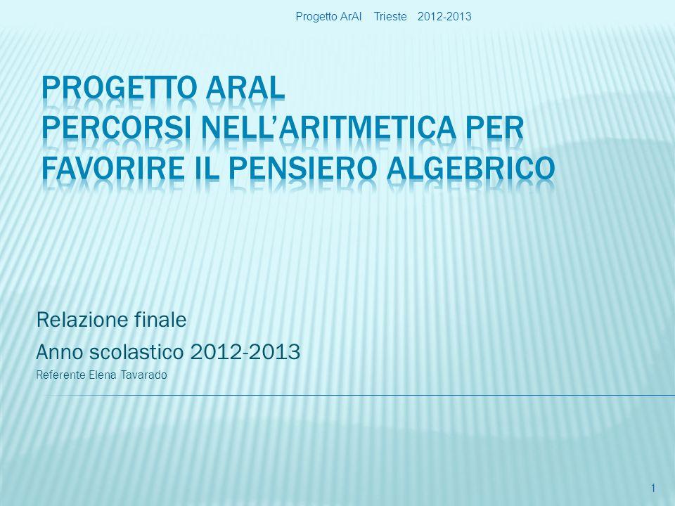 Relazione finale Anno scolastico 2012-2013 Referente Elena Tavarado Progetto ArAl Trieste 2012-2013 1