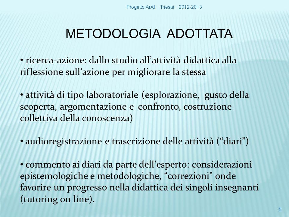 COMPLESSITÀ necessità di molto lavoro di progettazione esigenza di sforzo personale per modificare atteggiamenti e pratiche didattiche Progetto ArAl Trieste 2012-2013 16
