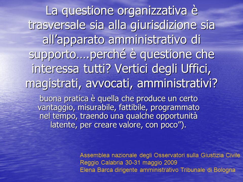 La questione organizzativa è trasversale sia alla giurisdizione sia allapparato amministrativo di supporto….perché è questione che interessa tutti.