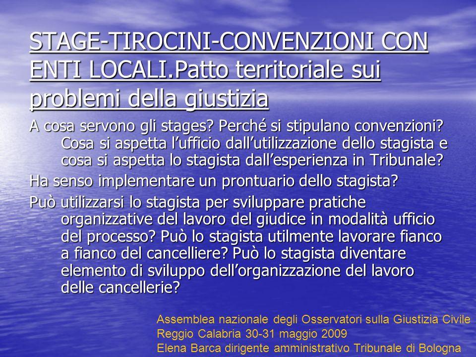 STAGE-TIROCINI-CONVENZIONI CON ENTI LOCALI.Patto territoriale sui problemi della giustizia A cosa servono gli stages.